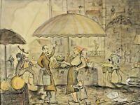 Monogrammiert LB - Streitgespräch am Markt Brüssel ? - datiert 1929