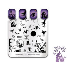 BORN PRETTY Nail Art Stamping Plates Template Cat Witch Bat Stamp Halloween Day