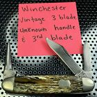 VINTAGE 3 BLADE WINCHESTER UNKNOWN HANDLE POCKET KNIFE MULTI TOOL