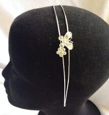 LuLu Silver Tone Butterfly Double Band Headband- New