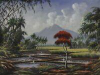 Vintage Indonesian Painting Landscape Java Jakarta Mountains Original Z Abidin