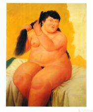 Nude by Fernando Botero Art Print Female Combing Hair on Bed Latin Poster 18x22