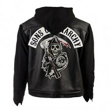SOA Sons of Anarchy Hoodie Real Leather/Faux Leather Jacket