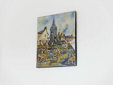HST peinture Calvados Honfleur marché et l'église Sainte Catherine