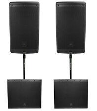 """2) JBL EON610 10"""" 2000 Watt Bluetooth Powered DJ PA Speakers+(2) 18"""" Subwoofers"""