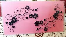 Checkbook Cover Pink Purple or Blue Black Flourish Suzie's Designs
