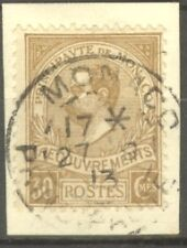 "MONACO STAMP TIMBRE TAXE N° 10 "" PRINCE ALBERT 1er 30c BISTRE "" OBLITERE TB"