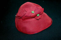 VERY RARE DEADSTOCK FRENCH 1930'S RED FELT HAT WITH TAG SIZE 7-7 1/2