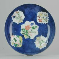 18C Kangxi Large 27cm Gilt Powder Blue Plate Famille Verte Marked Incens...
