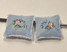 ARTISAN Hand-Painted PILLOWS Set 2 Blue 1:12 Dollhouse Miniature Accessory
