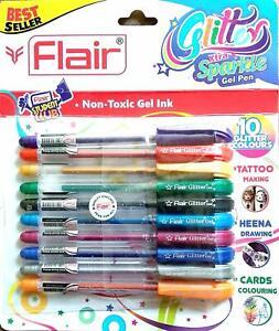 10 x Flair Xtra Sparkle Glitter Roll Gel Pen Set. Non - Toxic Gel Ink Uk Seller