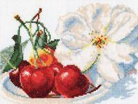 Kit de broderie point de croix compté 5-03/Fleurs/Cerise 22 x 15 cm