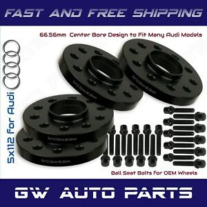 4 Black 20mm Audi 5x112 Hub Bore Wheel Spacer Kit 66.6mm Fit Q5 SQ5 W/Ball Bolts