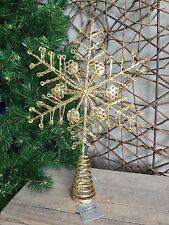 Gisela Graham gold glitter metal snowflake Christmas tree topper 25.5cm