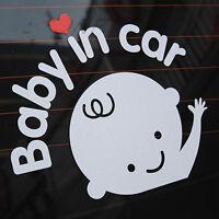 """Baby In Car"" Waving Baby on Board Safety Sign Cute Car Decal Vinyl Sticker_ RHQ"