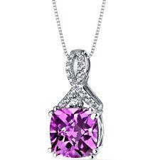 14K White Gold Created Pink Sapphire Pendant Ribbon Design 4.25 Carats