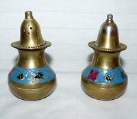 "Brass Metal Cloisonne Salt Pepper Shakers Tiny 3 1/2"""