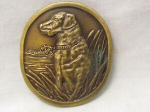 VINTAGE HUNTING DOG LABRODOR RETRIEVER BRASS BELT BUCKLE