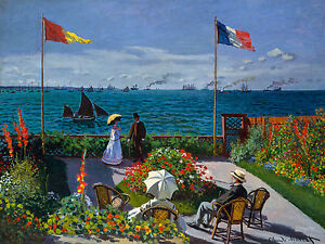 Monet 1876, Garden at Sainte-Adresse, Fade Resistant HD Print or Canvas