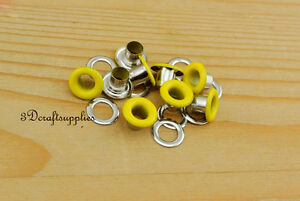 eyelets metal with washer grommets yellow round 100 sets 4 mm AC72D