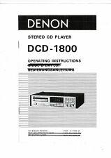Denon user manual Bedienungsanleitung für DCD- 1800 englisch