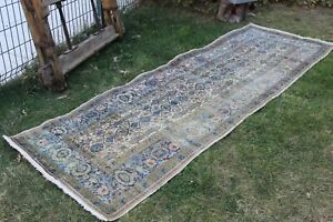 "Vintage Handmade Turkish Oushak Patchwork Runner Rug Carpet 112""x37"",285x95cm"