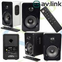 AV:Link Active Bluetooth Bookshelf Speakers Black White USB SD Input Remote Pair