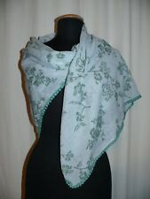 Aperitif Cotton Cloth Scarf Stole with Knotenkante & Print ca.100 x 100 Green