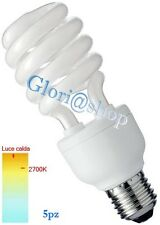 5 LAMPADINA 20W LUCE CALDA E27 LAMPADINE BASSO CONSUMO RISPARMIO ENERGIA 6400K