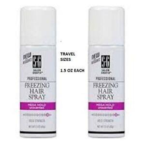 Lot of 2 New Salon Grafix Freezing Hair Spray Mega Hold Unscented 1.5 oz TRAVEL