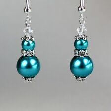 Teal blue green pearls crystal vintage silver drop wedding bridesmaid earrings