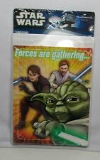 "Star Wars Animated ""Forces are gathering.."" 8pk Invitations Yoda Anakin Obi-Wan"