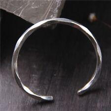 Solid 925 Sterling Silver Open Mens Torque Bangle Cuff Bracelet