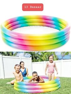 "Nw Intex 58"" Inflatable 3 Ring Rainbow Swimming Paddling Pool Play Baby Kids Fun"