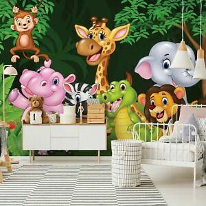 Fototapete Kinderzimmer Affe Tieren Dschungel Wald Elefant Wandtapete Tapete 82