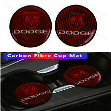 2x Dodge Red Carbon Fiber Car Cup Holder Pad Water Cup Slot Non-Slip Mat