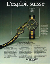 PUBLICITE ADVERTISING 084  1984  LONGINES  montre CONQUEST VHP