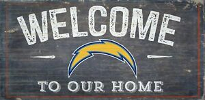 """Los Angeles Chargers Welcome to our Home Wood Sign NEW 12"""" x 6""""  Decoration Gift"""