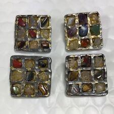 GERARD YOSCA Buttons Signed Vintage 1980 Large Raised Gem Stone Square