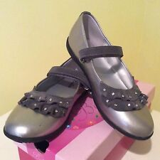 BALLETO SILVER/PEWTER LEATHER BALLET FLAT SHOES! GIRLS 4 $79.00+ MUST SEE! EUC!