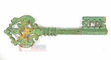 """15"""" Extra Large Decorative Skeleton Key Cast Iron Distressed Turquoise Old Style"""