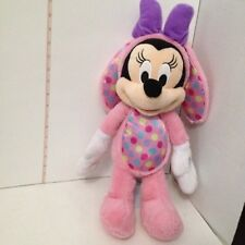 """Minnie Mouse Pink Easter Bunny Rabbit Pink Satin Dot 15"""" Disney Bow Plush Toy"""