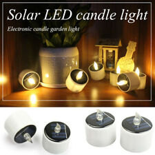 3BF4 Solar Candles Lamp LED Tealight Flickering Christmas Decor Votive