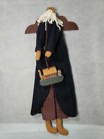 Calico Harvest Folk Art Noah Doll Holding Noah's Ark Coshocton OH Signed & Dated
