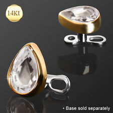 14K Solid GOLD Tear Drop Gem Dermal Anchor Screw Top Ring Stud PIERCING Jewelry