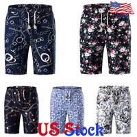 Summer Men Half Pants Trousers Floral Print Casual Shorts Beach Hawaii Loose US