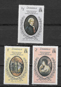 DOMINICA , 1977 , BEETHOVEN , SET OF 3 STAMPS , PERF , MNH