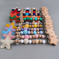 Star Leather Beech Wood Pacifier Clips Baby Teething Dummy Chain Soother Holder