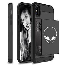 For Apple iPhone Shockproof Wallet Credit Card Holder Hard Case Alien Head