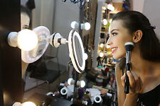 Round Cosmetic Makeup Mirror 10X Details Magnify LED Lights Compact Suction Base